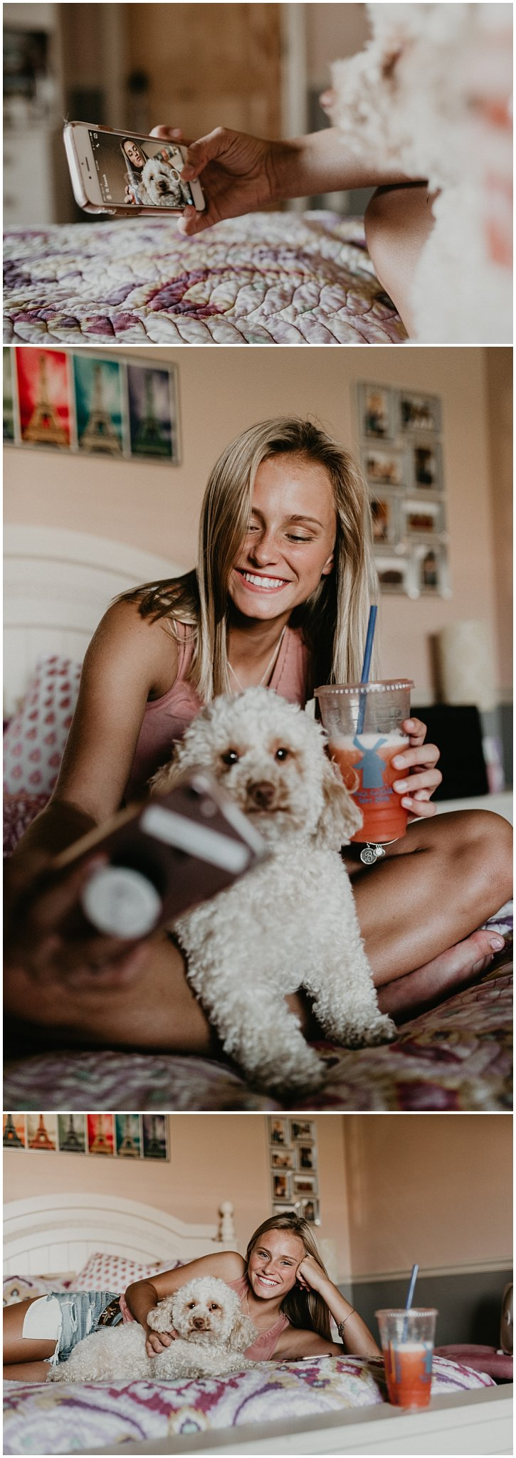 Boise Senior Photographer Makayla Madden Photography Dutch Bros Dutch Brothers Senior Pics Puppy Dog Selfie Unique Fun Senior Photos