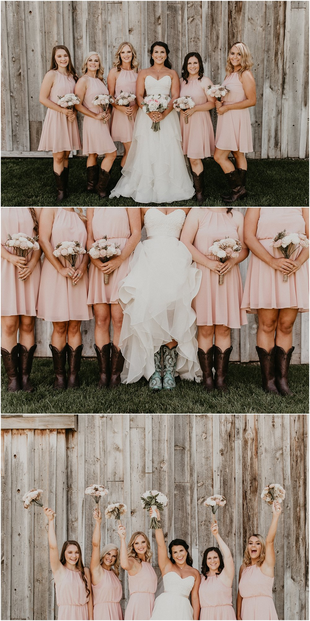 Boise Wedding Photographer Makayla Madden Photography Idaho Bride Boise Country Chic Wedding Still Water Hollow Boise Idaho Wedding Venue Bridesmaids Posing Ideas Boots Rustic Wedding inpsiration