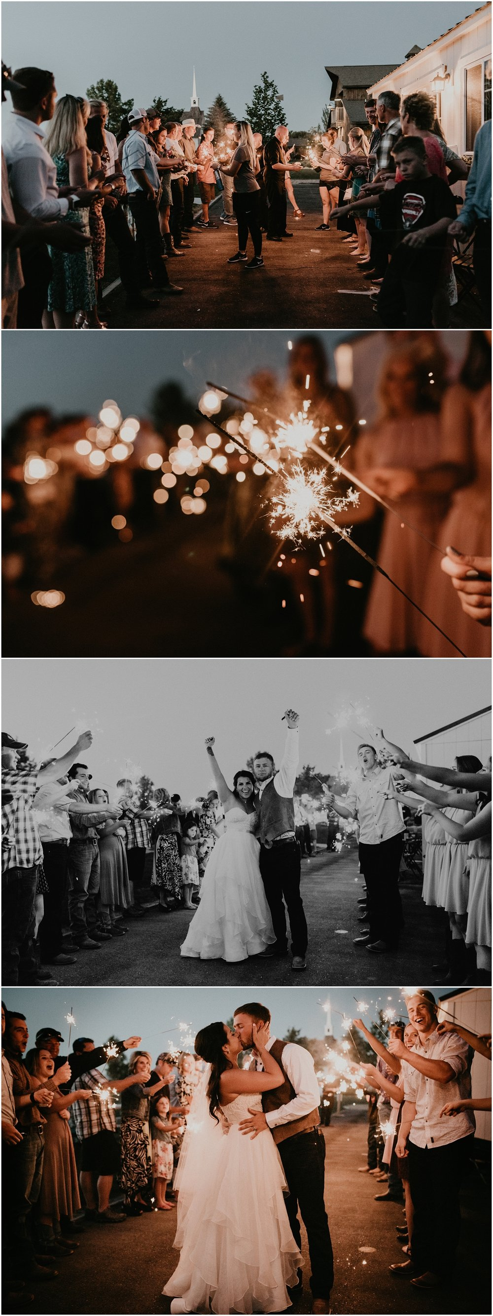 Boise Wedding Photographer Makayla Madden Photography Still Water Hollow Boise Wedding Venue Country Chic Rustic Bride and Groom Idaho Bride Summer Wedding Sparkler Exit Ideas