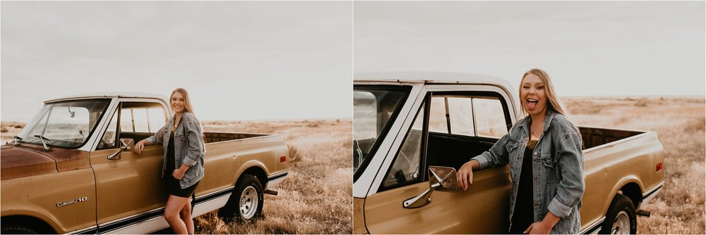 Boise Senior Photographer Makayla Madden Photography Boise Foothills Country Rustic Senior Pictures Senior Girl Outfit Inspiration Idaho Hoffman Autobody Vintage Chevy Truck Senior Pic Ideas