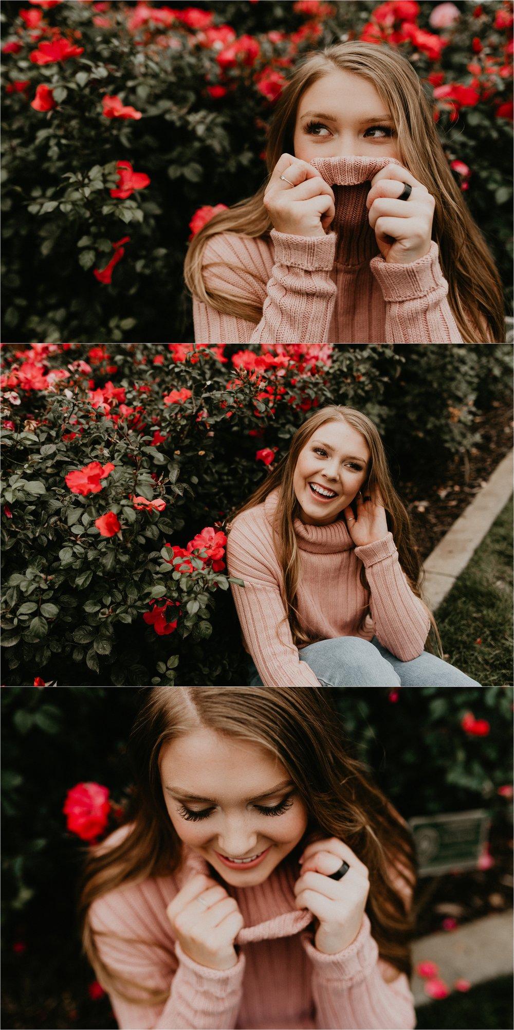 Boise Senior Photographer Makayla Madden Photography Downtown Boise Rose Garden Capital High Senior Flowers Senior Pictures