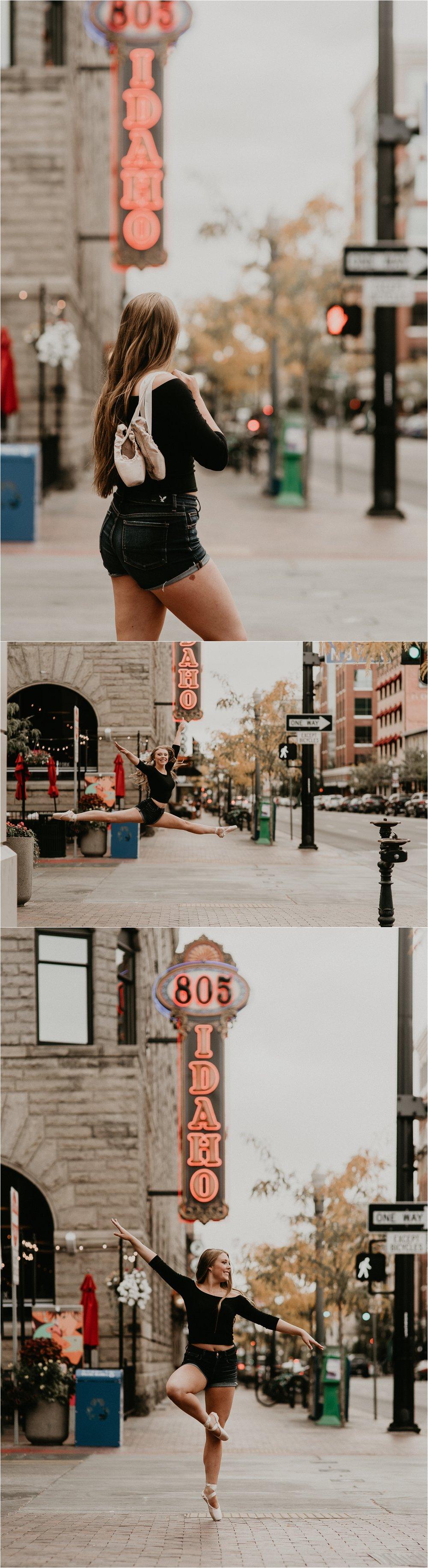 Boise Senior Photographer Makayla Madden Photography Senior Girl Capital High School Kailee Roberts Urban Dancing Senior Pictures Ballet Point Dance Senior Photos  Downtown Boise Idaho St Sign