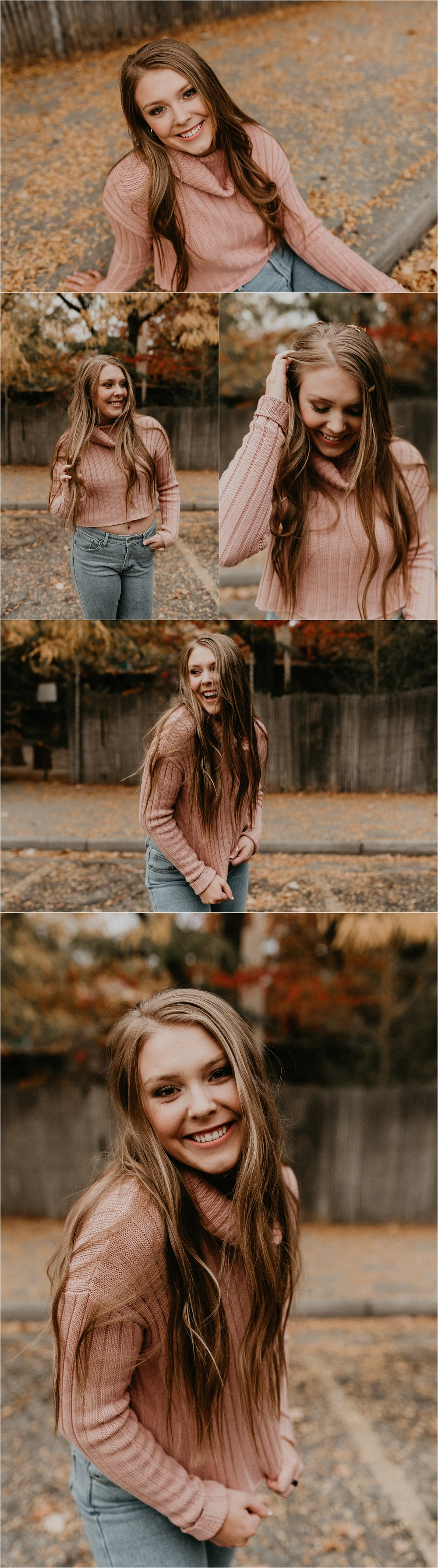 Boise Senior Photographer Makayla Madden Photography Idaho Senior Pictures Downtown Boise Fall Photos Leaves Sweater Senior Girl Fun Unique