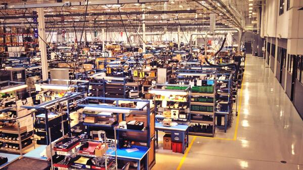 Typical Monday on an Oregon company's electronics manufacturing floor. 4:45pm. Photo by Water