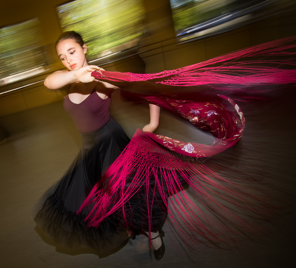 Rowan Treese practices Flamenco under the tutelage of Danica Sena, at Portland's School of Oregon Ballet Theater.  Photo by Fritz Liedtke