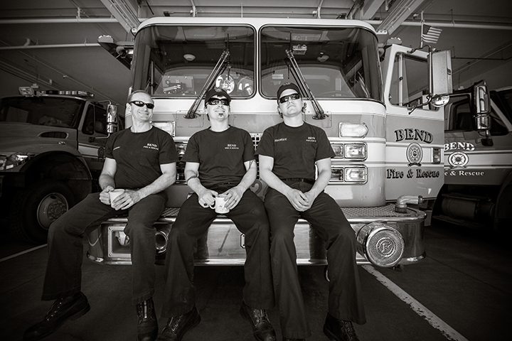 Bend Fire Department employees await their next call from the East Station.  Photo by Jason Brownlee