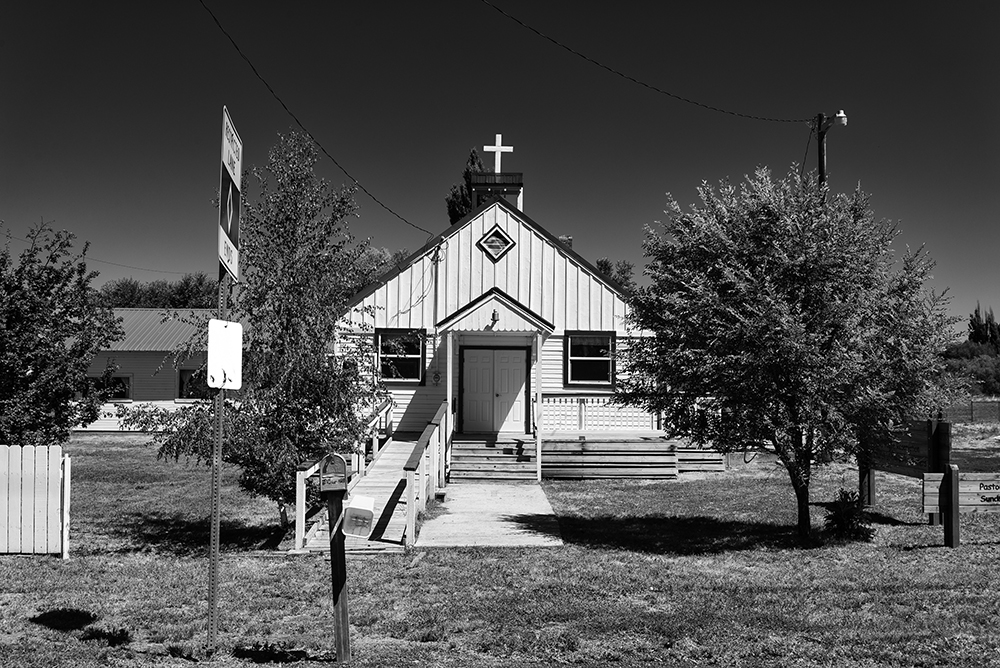 The Church of the Living Waters on the Burns Paiute Reservation. Not much has changed since Keith photographed for this project back in 1983 other than the addition of a wheelchair ramp.  Photo by Keith Skelton