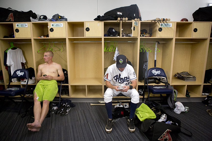 Hillsboro Ballpark, home of the Hillsboro Hops, in the locker room after a 7-4 loss to the Boise Hawks. Photo by Ross Hamilton