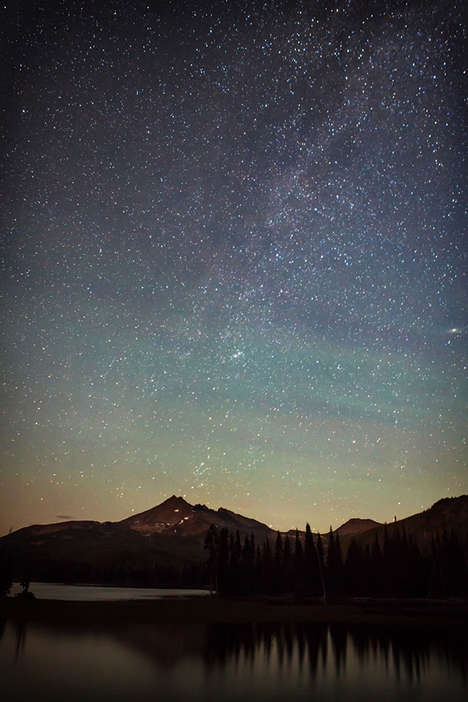 The night sky over Sparks Lake, 25 miles west of Bend.  Photo by Michelle Bauer