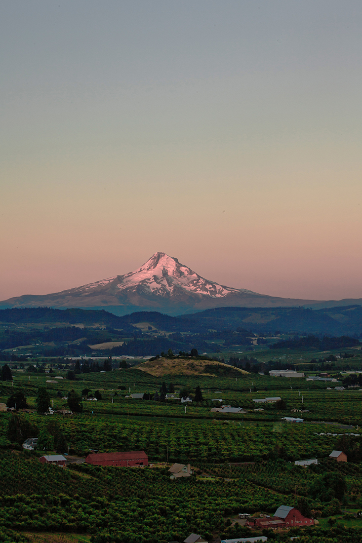 A sunrise shot of the Hood River valley and Mt. Hood.  Photo by Blue Ackerman