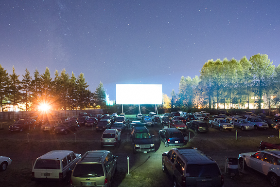 """Movie goers watch """"The Lone Ranger"""" from their cars at the 99W Drive-In movie theater, in Newberg, OR. Photo by Chase Allgood"""