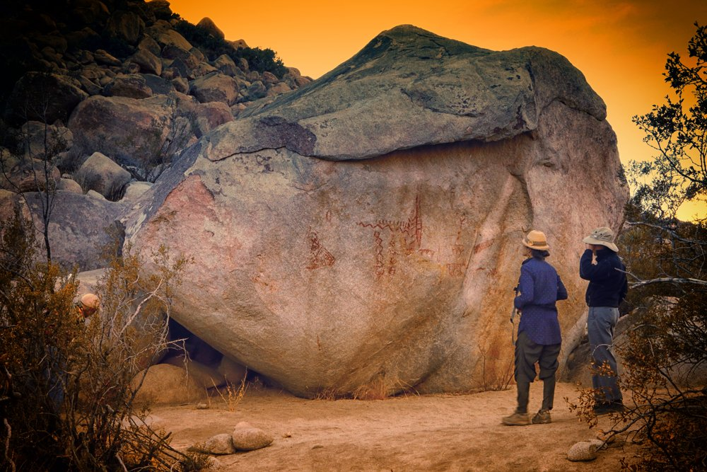 A desert hike to visit this rock with ancient pictographs by the local Kumeyaay tribe.