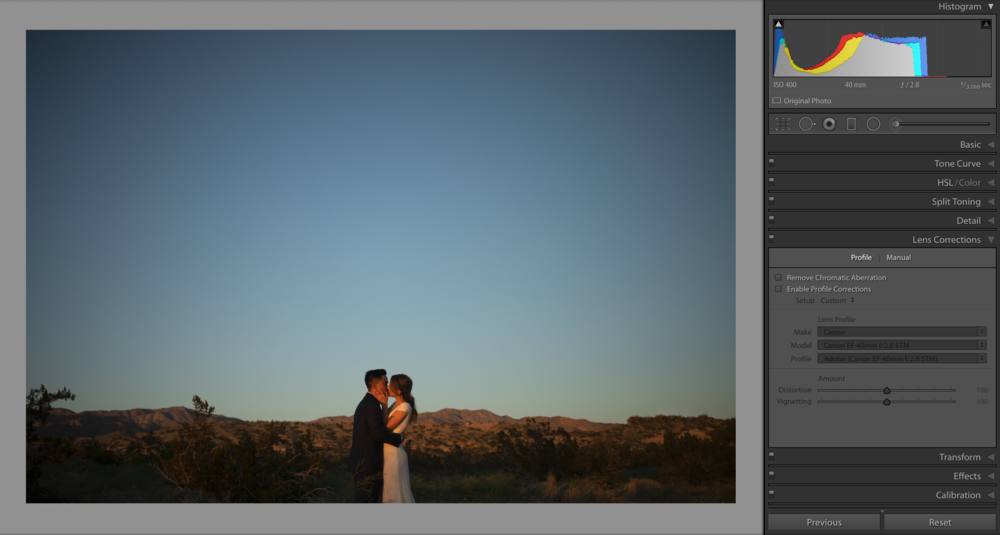 Here's the image, straight out of camera, with a natural vignette and no current lens correction. The ends of the horizon are bowed upwards due to the focal length, the distance of the background and the angle I'm shooting at. To fix the bowing and create a straight horizon, let's enable our profile corrections and ALWAYS remove chromatic aberration.