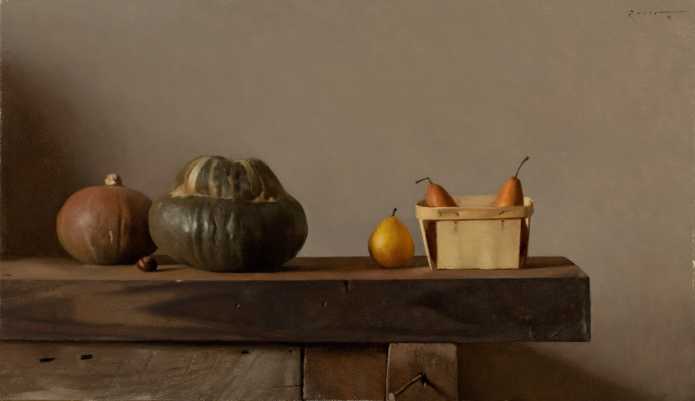 Still life with Gourds and Small Basket of Pears