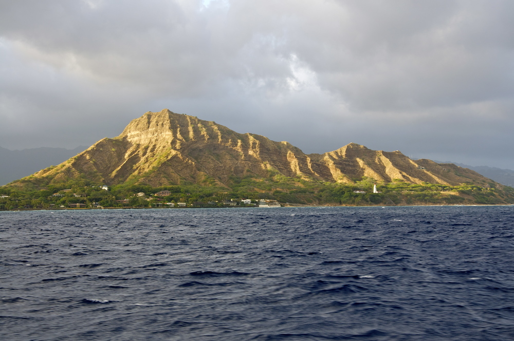 View of Diamond Head from the Pacific Ocean.