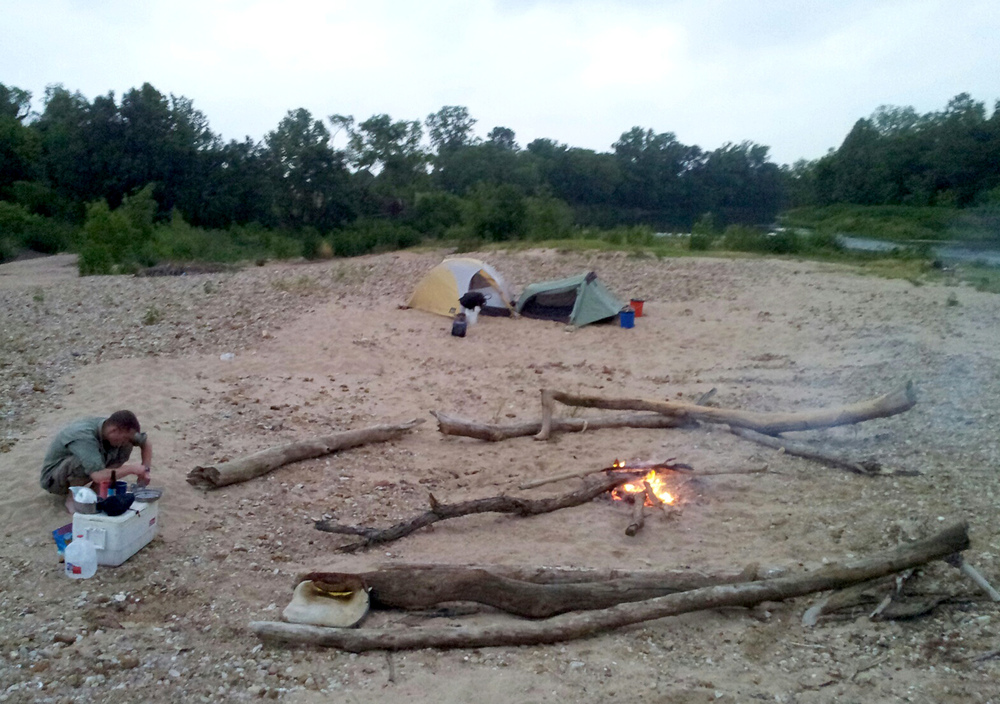 1st Campsite was a large sandbar. This was a great place to stop because we had an abundance of driftwood for the fire. Ended up catching a couple fish from the bank, and  I also found and ate some wild blackberries here.
