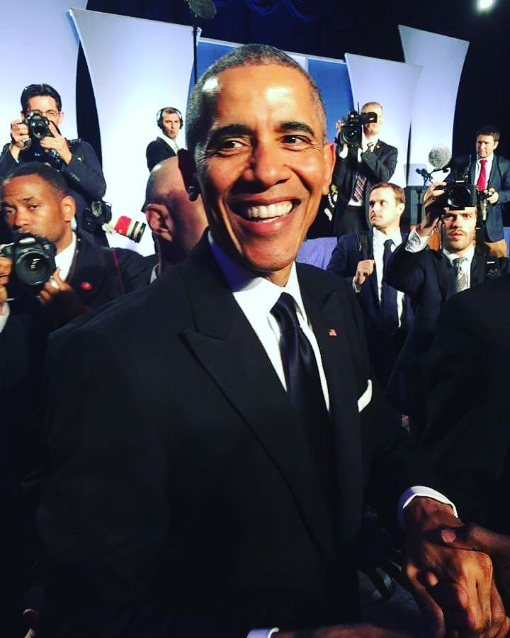 Obama, after he spoke to the APAICS gala crowd. May 4, 2016. Photo courtesy of Sarah Ha.