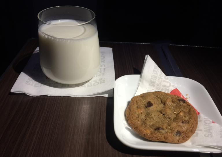What the Delta Airlines Business Class cookies and milk looks like. Mine had TWO cookies. SCORE.  Photo: Points, Miles, and Martinis