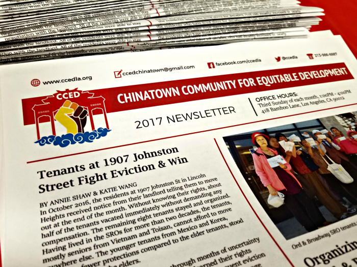 CCED fights for tenants' rights. - No one else is informing the elderly and working families of Chinatown and Lincoln Heights about their rights as renters and residents in their native languages.