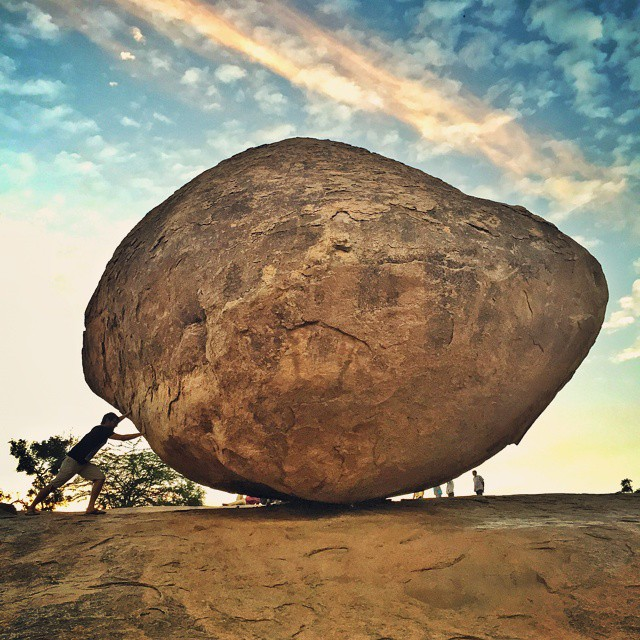 #Mahabalipuram -  Butter Ball II - Can you spot the idiot??? This guy here defies all rules of what is classified as normal behaviour!   #OneWeekInLifeOfAWeddingPhotographer #PersonalProject