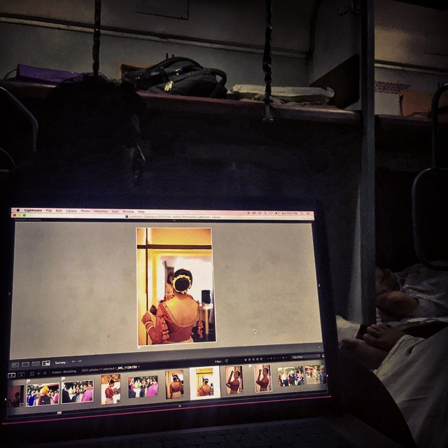 #Day7 -  And here we are editing images on the go! #TrainTravel   #LifeOfAWeddingPhotographer   For every Wedding I document, I deliver around 2 to 3 thousand EDITED images... and a custom designed album... and trust me... this Mac is so overworked that there are days when it curses the day I got him home from the store :p #OneWeekInLifeOfAWeddingPhotographer