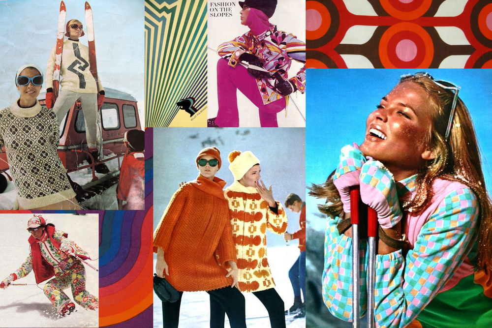 Vintage ski wear collage by Liz Nehdi