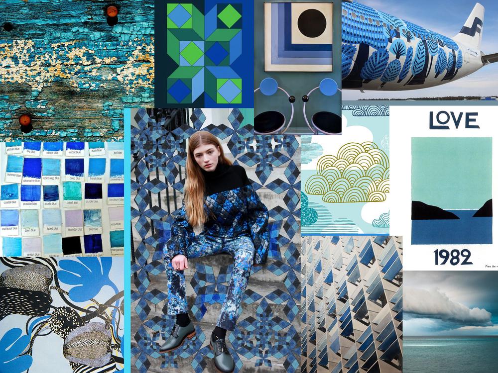 A blue mood board by Liz Nehdi