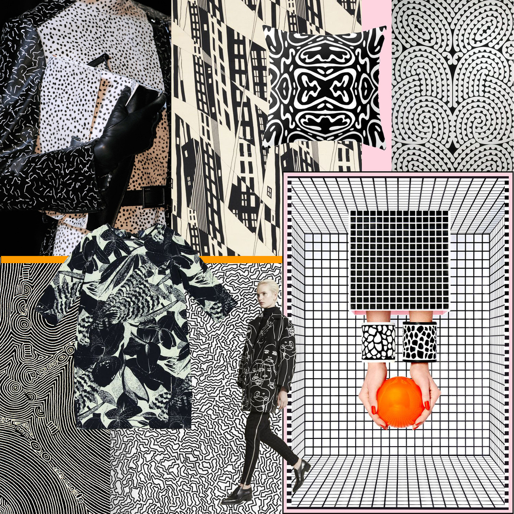 A black + white collage by Liz Nehdi