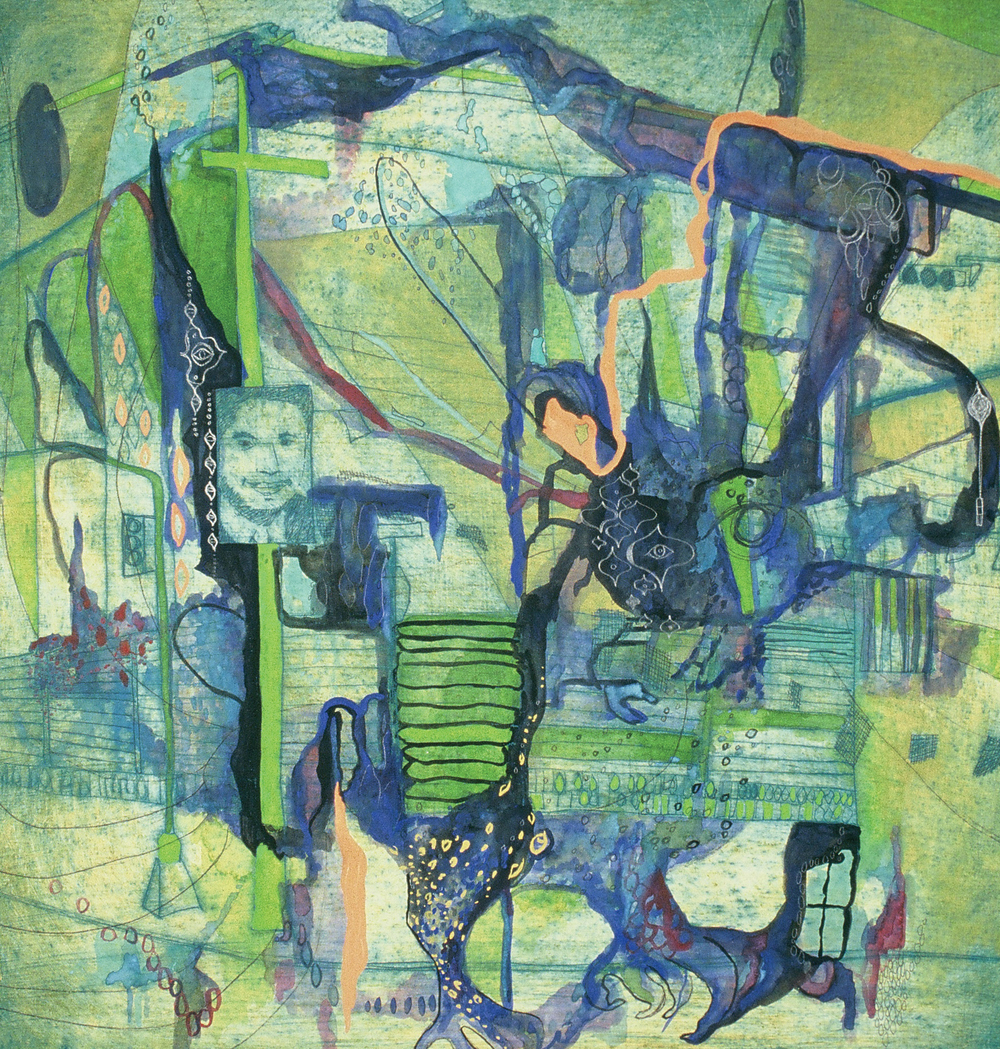 Mixed media work on paper by Liz Nehdi