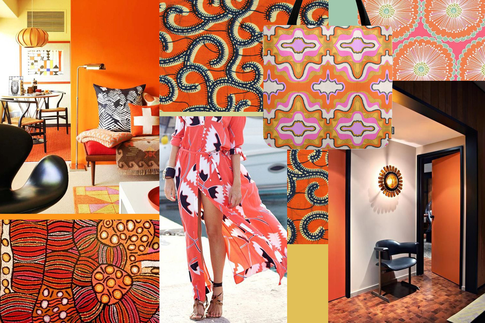 An orange mood board by Liz Nehdi