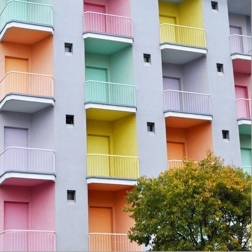 Pastel facade via Kelly Wearstler's Spring Pastels  Pinterest Board