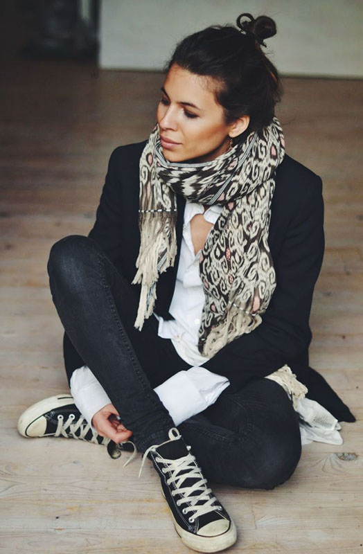 Black skinny jeans with a white button down, black blazer, bohemian scarf and black Converse via  Maja Wyh . When I need to get out of the door quickly, this is my go-to combination
