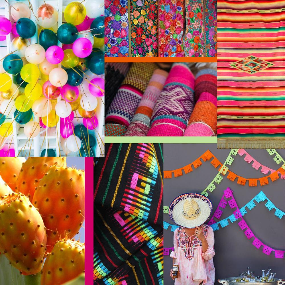 Fiesta Collage by Liz Nehdi. Image credits below