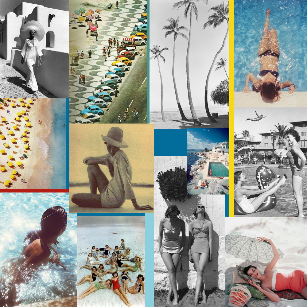 Vintage Summer Collage by Liz Nehdi. Image credits below