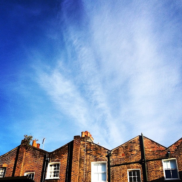 The backs of quintessential brick rowhouses against a beautiful blue early summer evening sky. A study of colour, texture, composition and form. Photo taken from a mews in Notting Hill