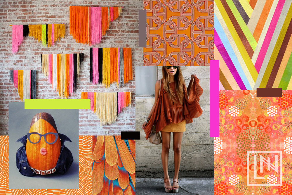 Orange Collage by Liz Nehdi. Image credits below.
