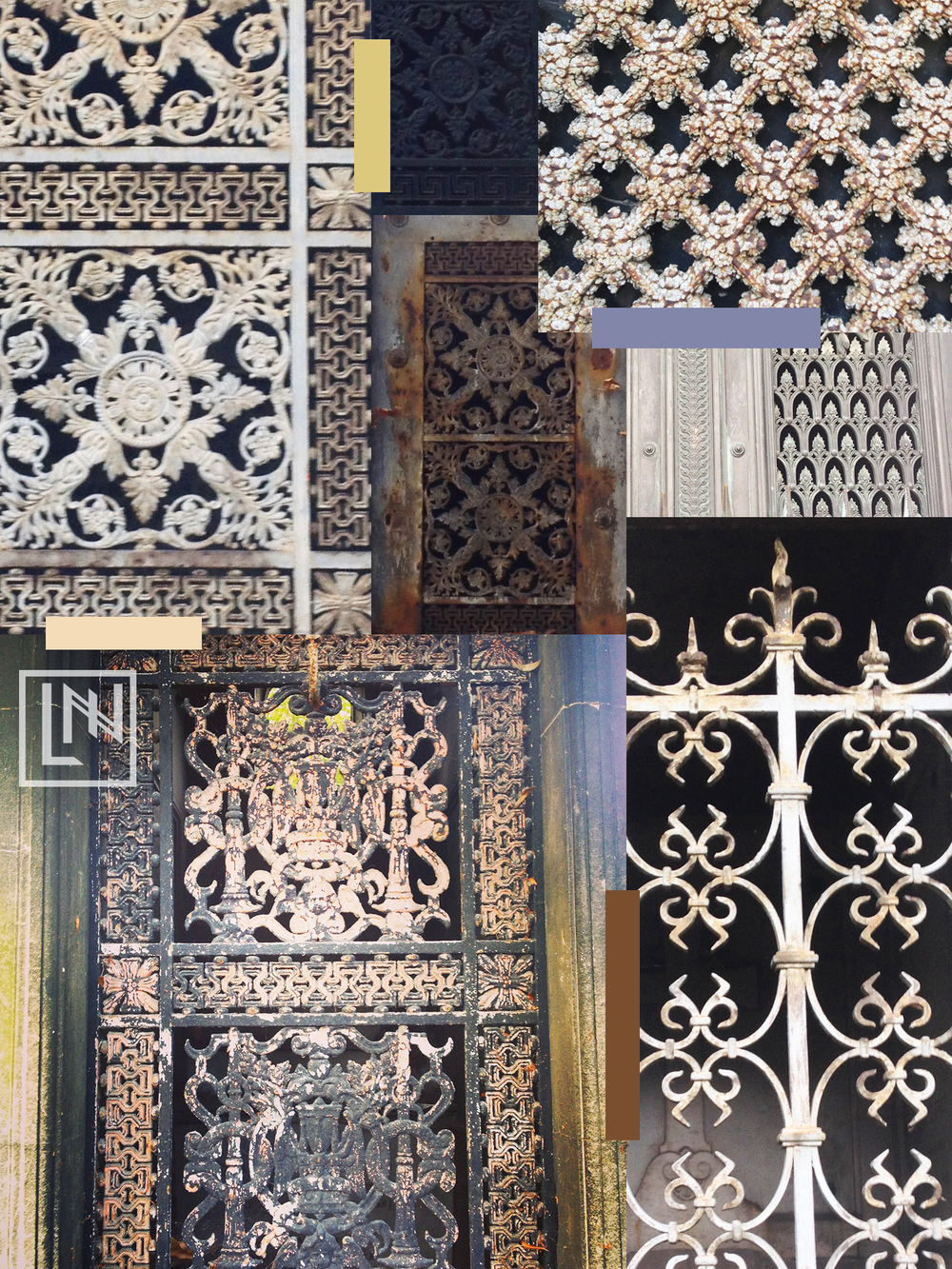 A collage of patterned gates and doors in Pere Lachaise cemetery by Liz Nehdi