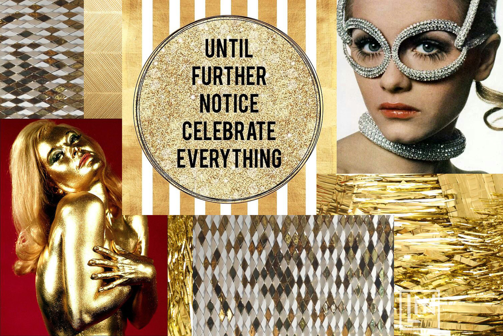 Glittering Gold Collage by Liz Nehdi Studio. Image Credits Below