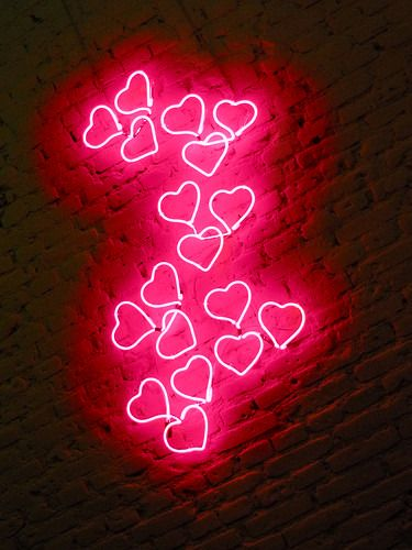 Pink Neon Hearts via Etsy