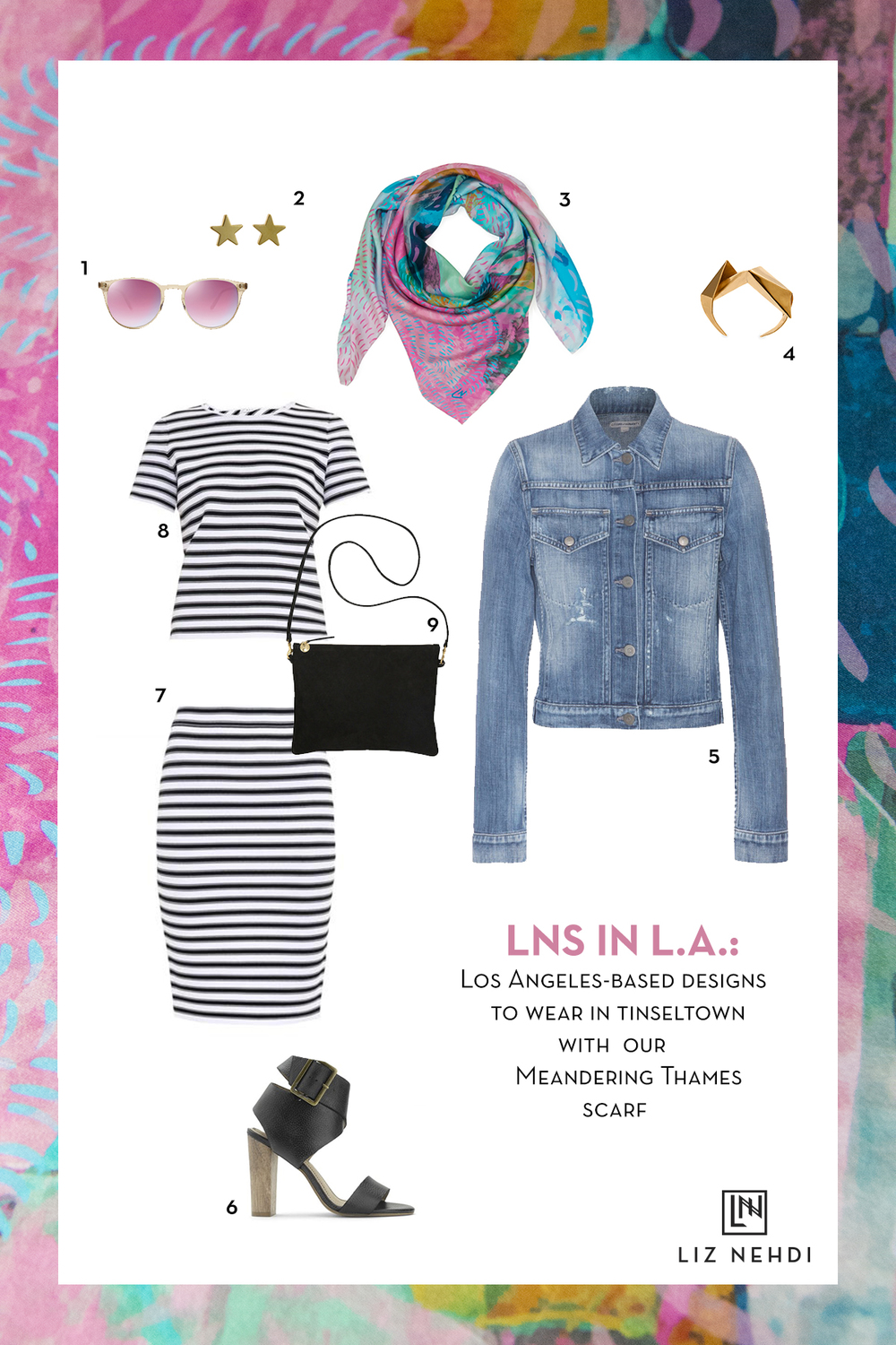LNS in L.A. collage by Liz Nehdi Studio, 2015. See below for product info