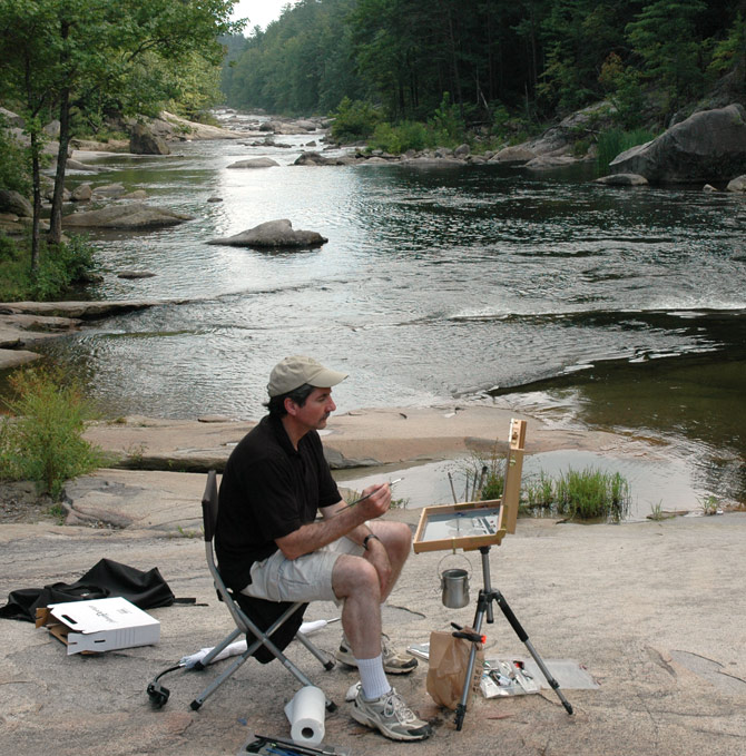 Painting at Wilson Gorge near Lenoir, NC.