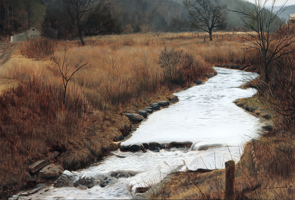 The Creek at Railroad Grade - oil on linen, 16 x 24 inches