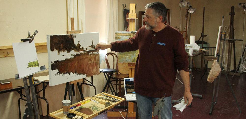 Roger Dale Brown begins a studio painting demo