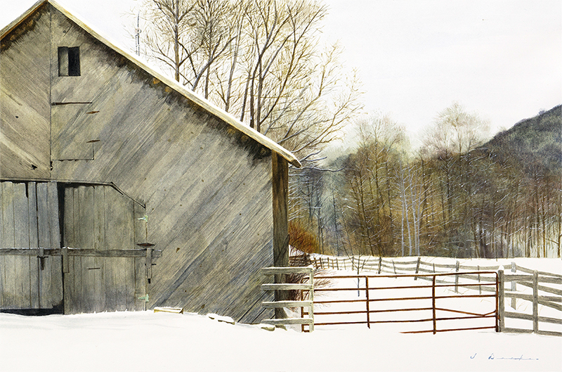 Watauga County Barn - watercolor,  SOLD