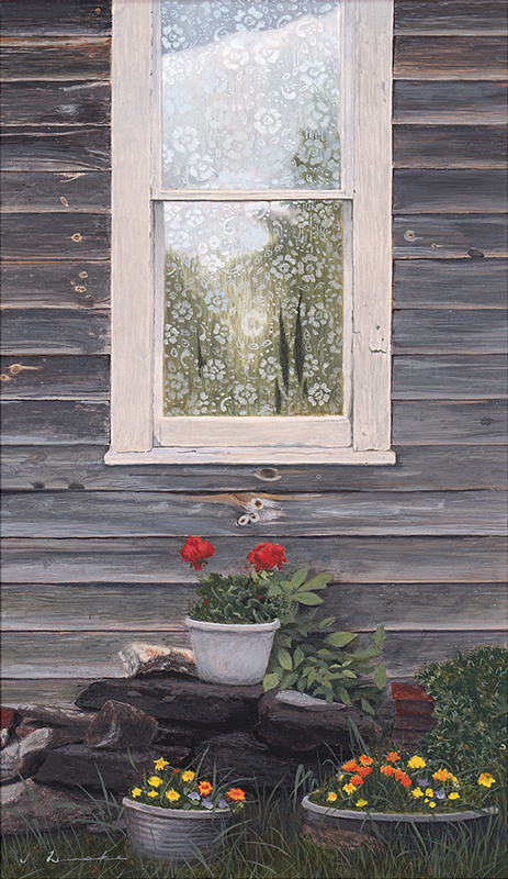 Mary's Geraniums - egg tempera, SOLD