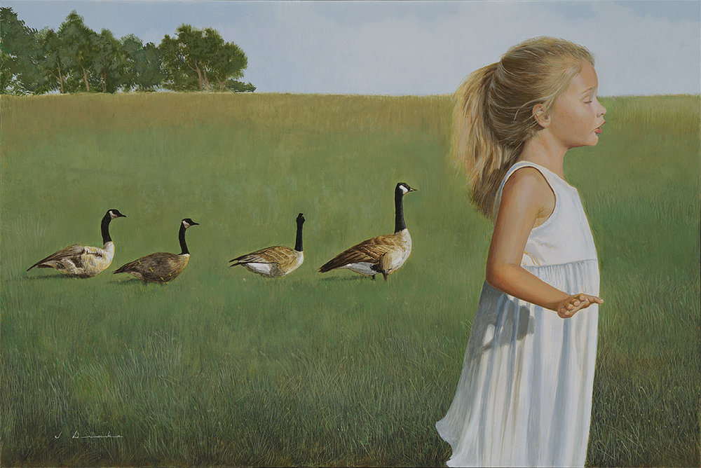 "The End of Summer - egg tempera on panel, 20 x 30"", private collection"