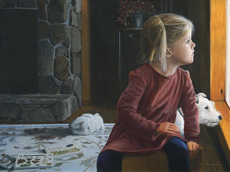 "Rainy Days  - 18 x 24"", egg tempera on panel"