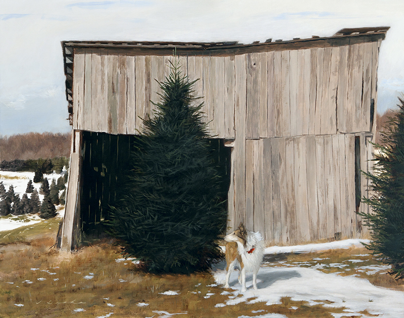 "Picking Out the Christmas Tree    - 18.25 x 23.5"", oil on linen Sold"