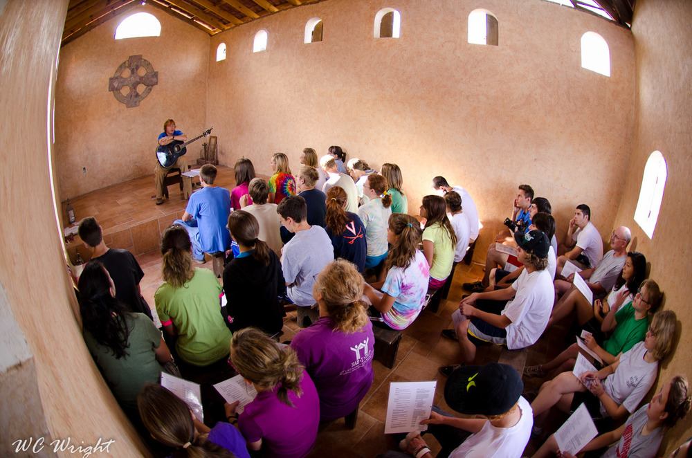 Morning prayer in the lower chapel at Cuirim House in Nogales