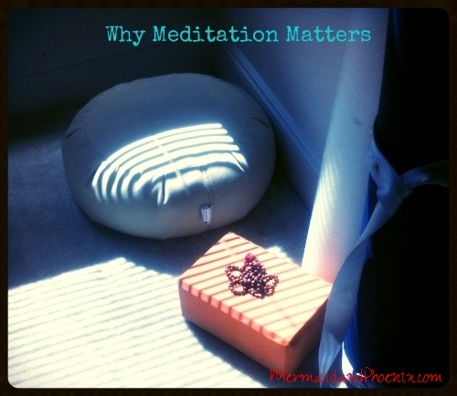 Meditation cushion and mala beads. (Photo: Sari / Mermaid and Phoenix)